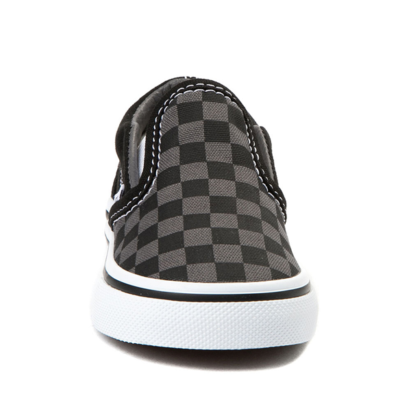 alternate view Vans Slip On Checkerboard Skate Shoe - Baby / Toddler - Black / GrayALT4