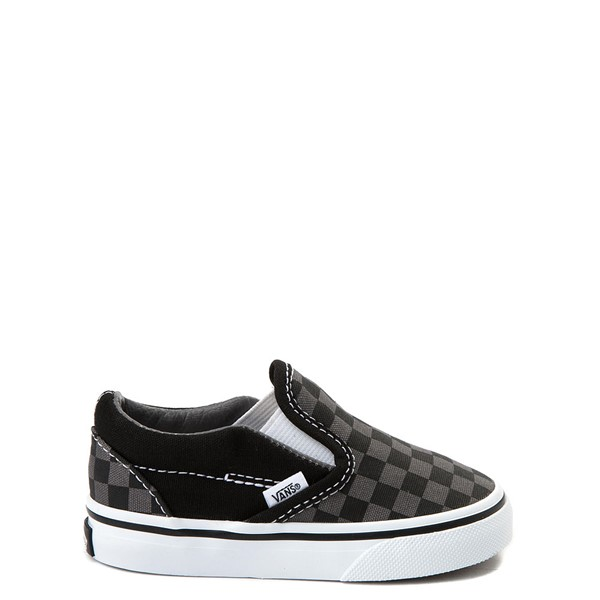 Main view of Vans Slip On Checkerboard Skate Shoe - Baby / Toddler - Black / Gray