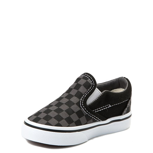 alternate view Vans Slip On Checkerboard Skate Shoe - Baby / Toddler - Black / GrayALT3