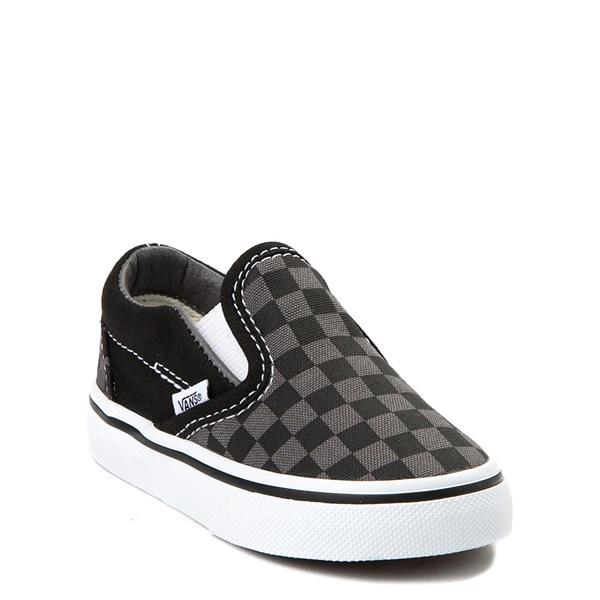 alternate view Vans Slip On Checkerboard Skate Shoe - Baby / Toddler - Black / GrayALT1