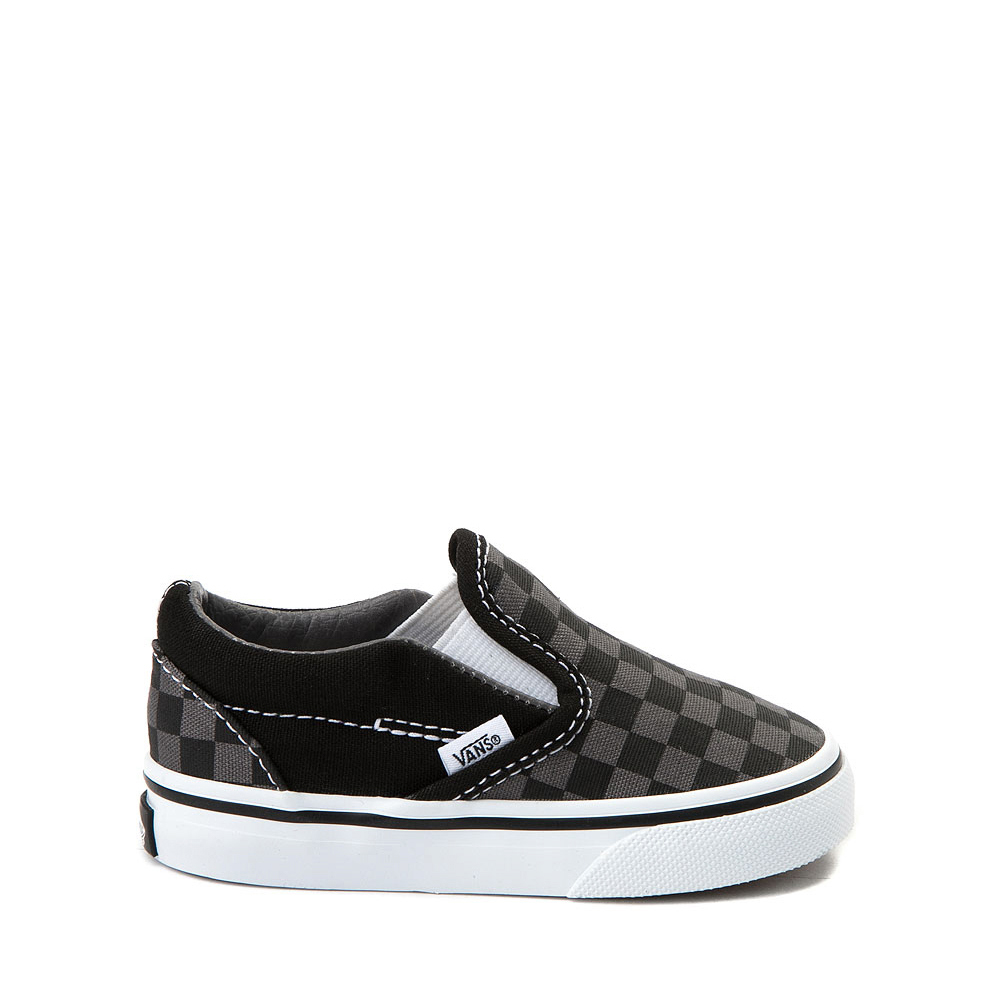 Vans Slip On Checkerboard Skate Shoe - Baby / Toddler - Black / Gray