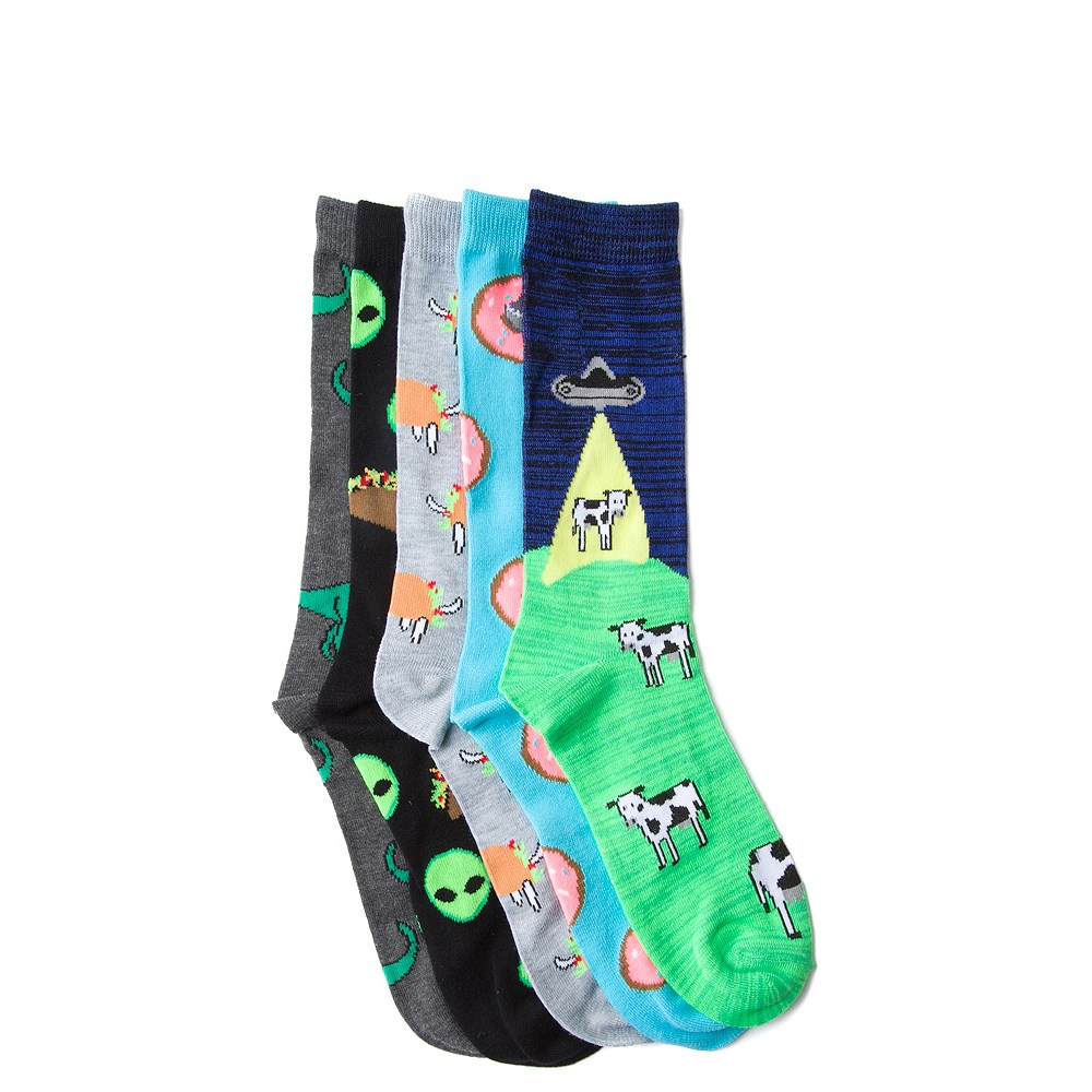 Mens Animals and Aliens Crew Socks 5 Pack