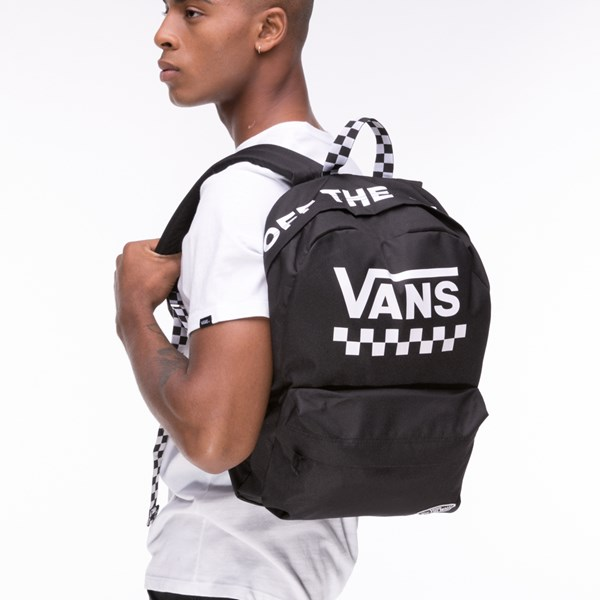 alternate view Vans Sporty Realm Checkered Backpack - Black / WhiteALT4