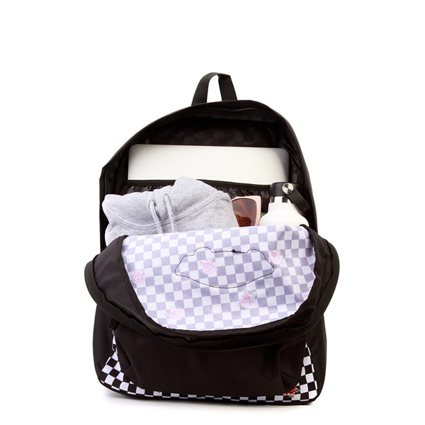 alternate view Vans Rose Checkered Realm Backpack - Black / WhiteALT1
