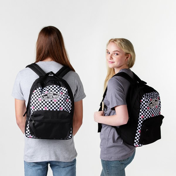 alternate view Vans Rose Checkered Realm Backpack - Black / WhiteALT1BADULT