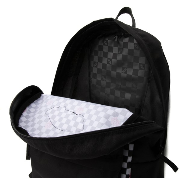 alternate view Vans Rose Checkered Realm Backpack - Black / WhiteALT3