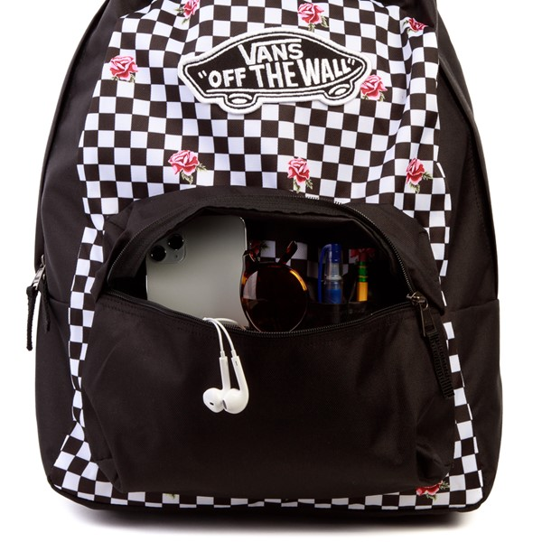 alternate view Vans Rose Checkered Realm Backpack - Black / WhiteALT3B