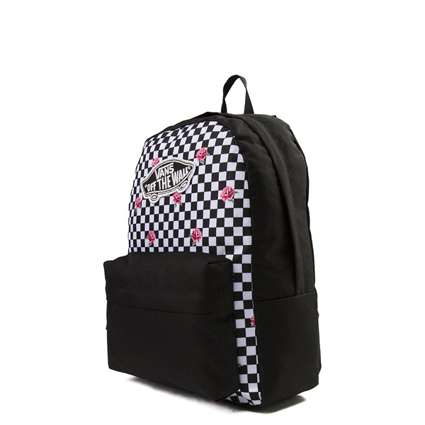 alternate view Vans Rose Checkered Realm Backpack - Black / WhiteALT4