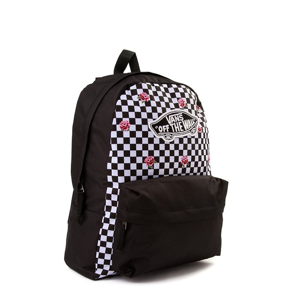 alternate view Vans Rose Checkered Realm Backpack - Black / WhiteALT4B