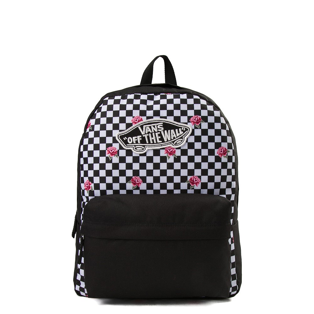Vans Rose Checkered Realm Backpack - Black / White