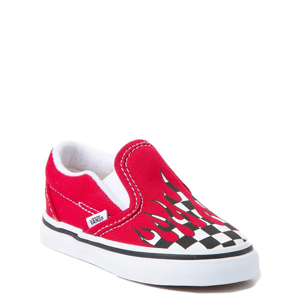 6df75eaaf8 Vans Slip On Checkered Flame Skate Shoe - Baby   Toddler. alternate image  default view alternate image ALT1 ...