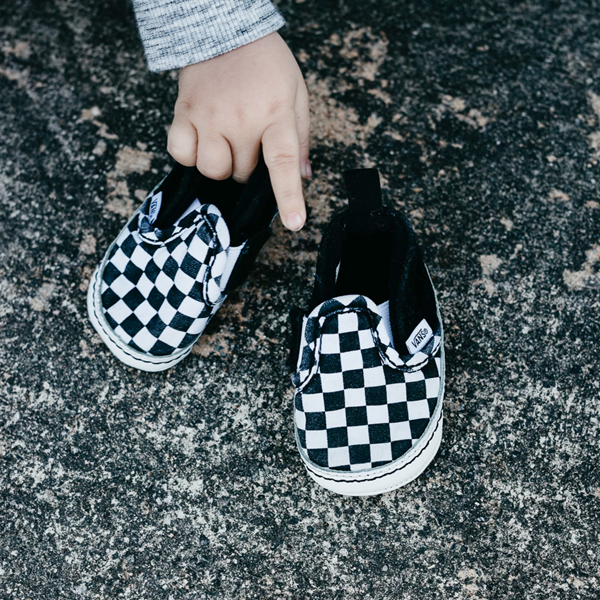 alternate view Vans Slip On V Checkerboard Skate Shoe - Baby - Black / WhiteALT1B