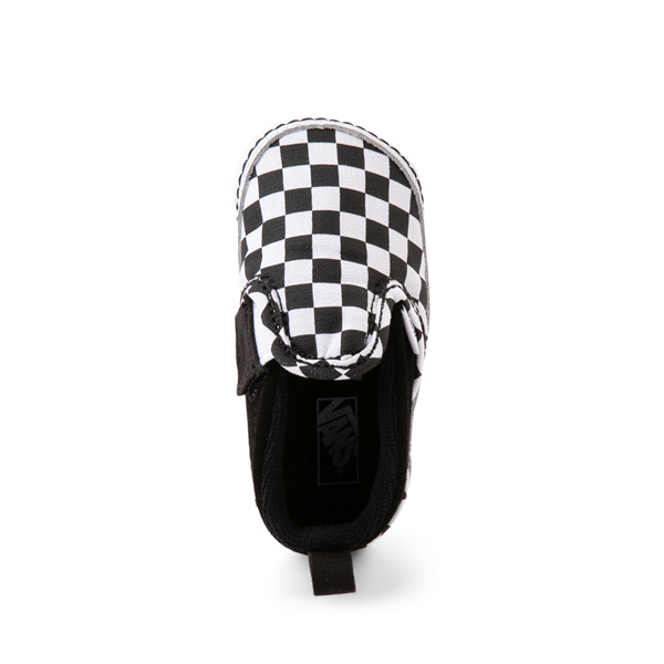 alternate view Vans Slip On V Checkerboard Skate Shoe - Baby - Black / WhiteALT2