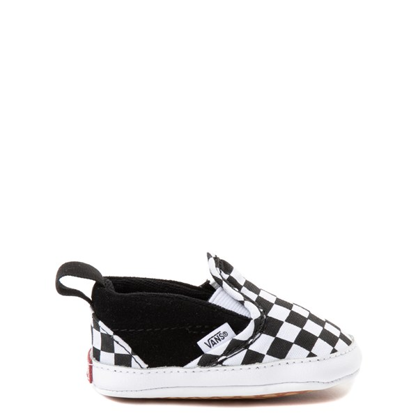Vans Slip On V Checkerboard Skate Shoe - Baby - Black / White