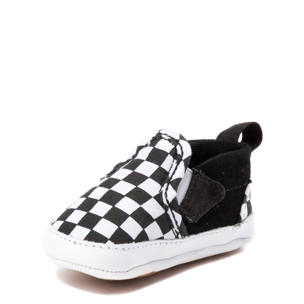 alternate view Vans Slip On V Checkerboard Skate Shoe - Baby - Black / WhiteALT3