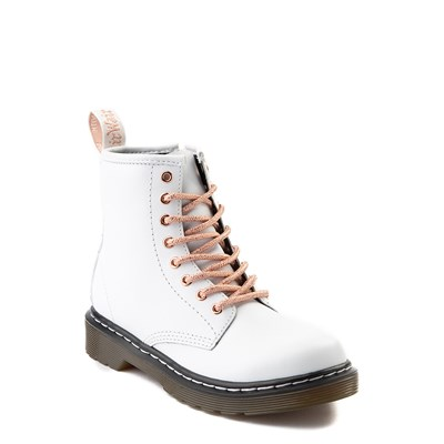 Alternate view of Dr. Martens 1460 8-Eye Boot - Girls Little Kid - White / Rose Gold