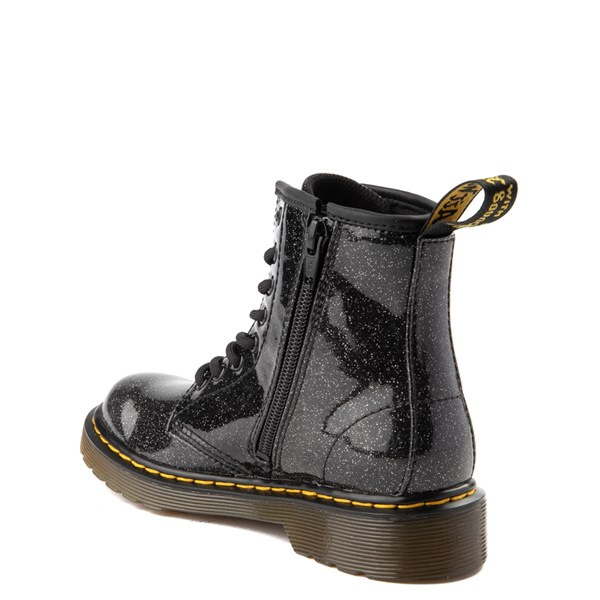 alternate view Dr. Martens 1460 8-Eye Glitter Boot - Little Kid / Big Kid - BlackALT2