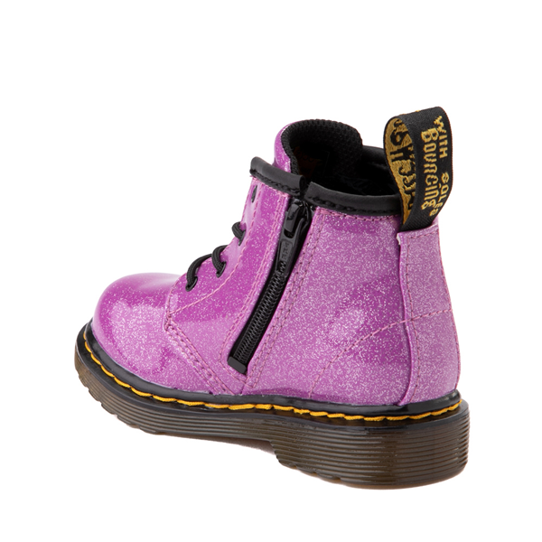 alternate view Dr. Martens 1460 4-Eye Glitter Boot - Baby / Toddler - PinkALT1
