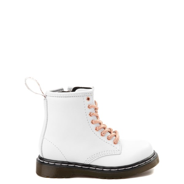 Dr. Martens 1460 8-Eye Boot - Girls Toddler - White / Rose Gold