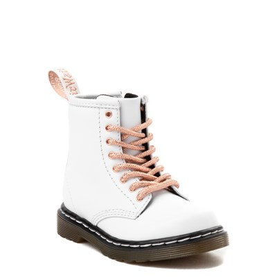 Alternate view of Dr. Martens 1460 8-Eye Boot - Girls Toddler - White / Rose Gold