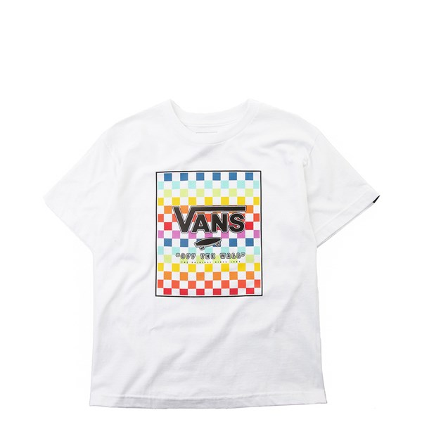 Default view of Vans Rainbow Checkerboard Tee - Girls Little Kid - White / Multi