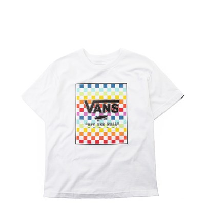 Main view of Vans Rainbow Checkerboard Tee - Girls Little Kid - White / Multi