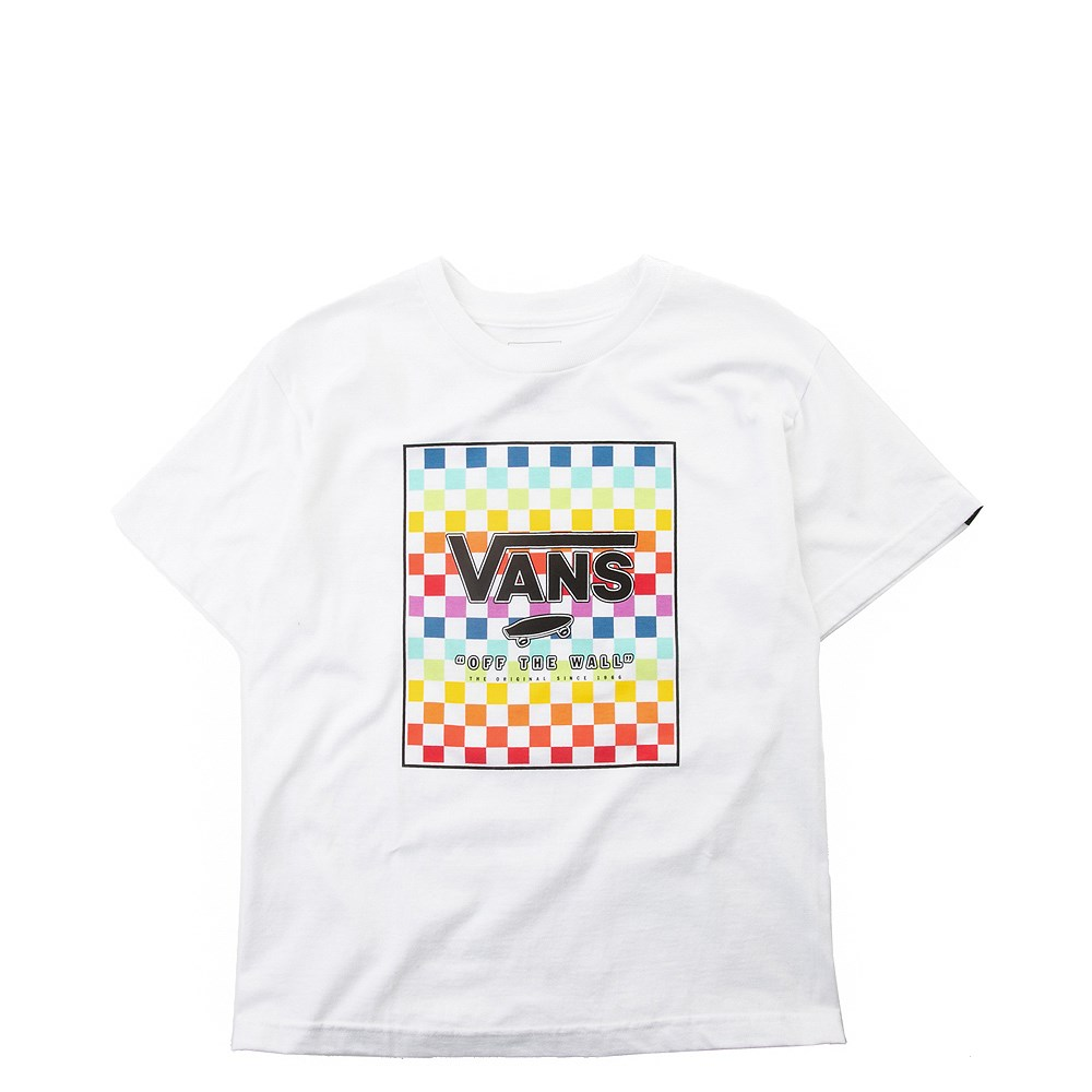 Vans Rainbow Checkerboard Tee - Little Kid / Big Kid - White / Multi