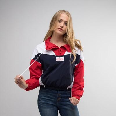 Main view of Womens Fila Tessa Anorak Jacket - White / Navy / Red