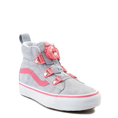 Alternate view of Youth/Tween Gray and Pink Vans Sk8 Hi MTE BOA Skate Shoe