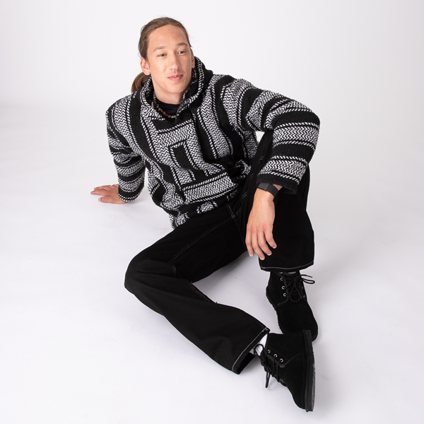 Main view of Mens Baja Poncho - Black / White