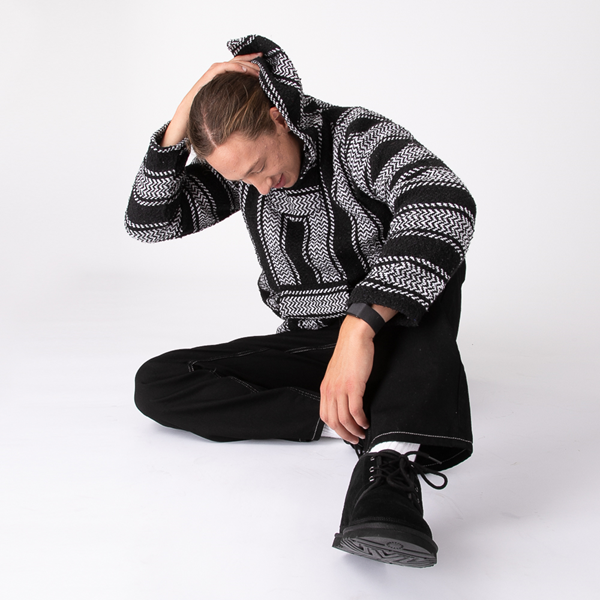 alternate view Mens Baja Poncho - Black / WhiteALT1