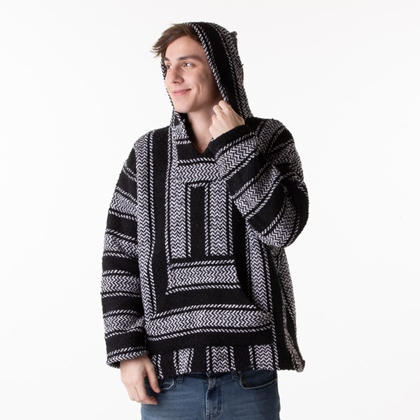 alternate view Mens Baja Poncho - Black / WhiteALT1B
