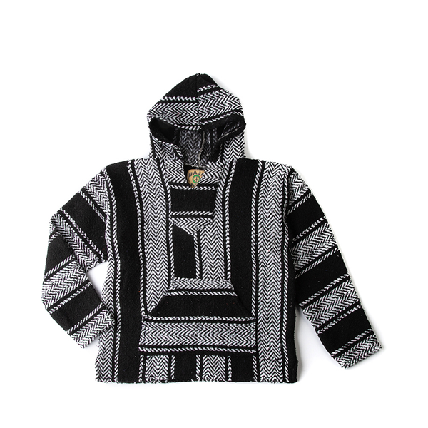 alternate view Mens Baja Poncho - Black / WhiteALT2