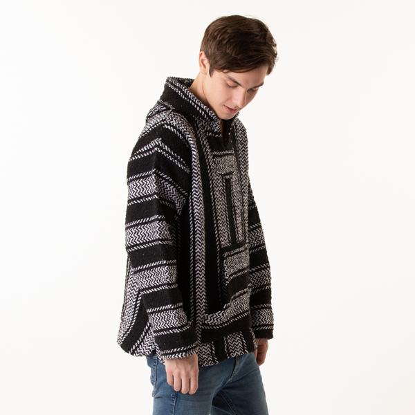 alternate view Mens Baja Poncho - Black / WhiteALT3