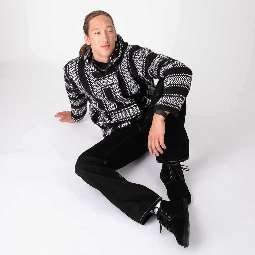Mens Baja Poncho - Black / White