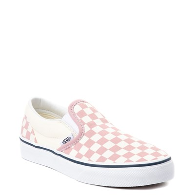 Alternate view of Youth Vans Slip On Pink and White Chex Skate Shoe