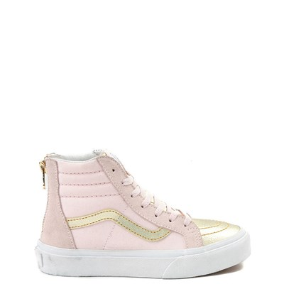 Youth/Tween Pink and Gold Vans Sk8 Hi Zip Skate Shoe