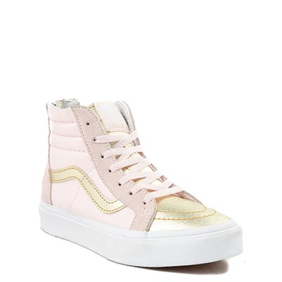 Alternate view of Youth/Tween Pink and Gold Vans Sk8 Hi Zip Skate Shoe