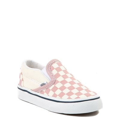 Alternate view of Toddler Vans Slip On Pink and White Checkerboard Skate Shoe