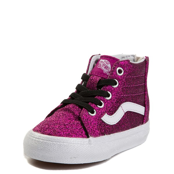 alternate view Vans Sk8 Hi Zip Glitter Skate Shoe - Baby / ToddlerALT1