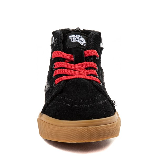 alternate view Vans Sk8 Hi Zip MTE Skate Shoe - Baby / Toddler - Black / RedALT4