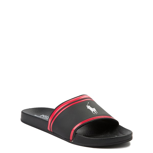 alternate view Quilton Slide Sandal by Polo Ralph Lauren - Little Kid / Big Kid - Black / RedALT1