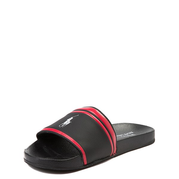 alternate view Quilton Slide Sandal by Polo Ralph Lauren - Little Kid / Big Kid - Black / RedALT3