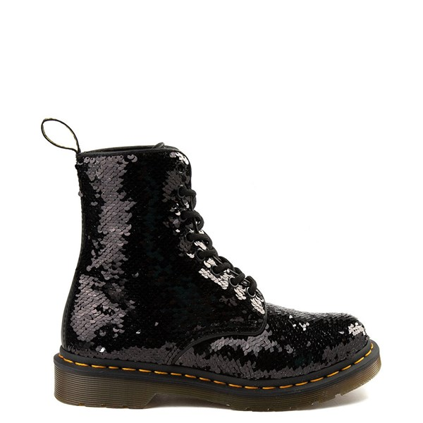 Womens Dr. Martens Pascal 8-Eye Two-Tone Sequin Boot - Black