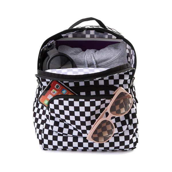 alternate view Vans Off the Wall Mini Checkered Backpack - Black / WhiteALT1