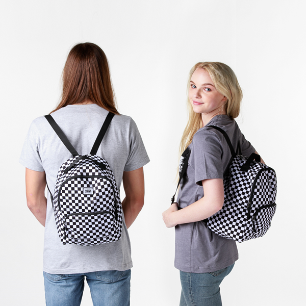 alternate view Vans Off the Wall Mini Checkered Backpack - Black / WhiteALT1BADULT