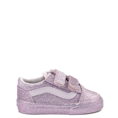Main view of Vans Old Skool V Glitter Skate Shoe - Baby / Toddler - Lavender