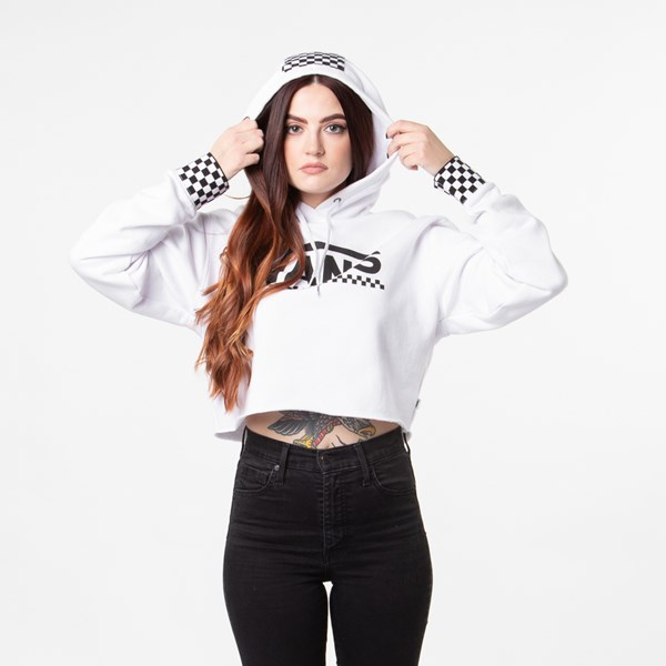 alternate view Womens Vans Checkered Cropped Hoodie - WhiteALT1