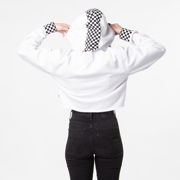 alternate view Womens Vans Checkered Cropped Hoodie - WhiteALT1B
