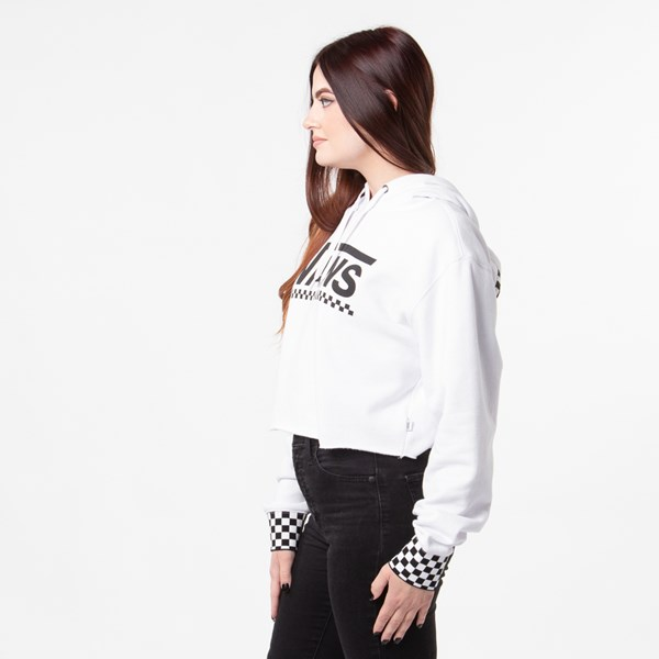 alternate view Womens Vans Checkered Cropped Hoodie - WhiteALT2
